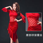 2017 New Lace Stitching Belly Dance Costume Dress Flared Long Sleeve