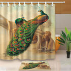 Animal Colorful Peacock Shower Curtain Bathroom Polyester & 12hooks 71*71inches