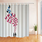 Valentine's Day butterflies and love Shower Curtain Bathroom Polyester & 12hooks