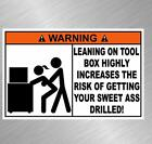 Warning Tool Box Vinyl Decal Sticker Funny Get Screwed Mechanic Wrench Snap On cheap