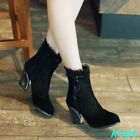Womens Lace Dress High Block Heels Ankle Boots Black US 10.5 Shoes Party Chic SZ
