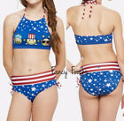 JUSTICE Girls Patriotic Emoji Bikini Swimsuit, NEW, 12 Stars & Stripes