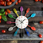Top Wall Clock Metal Colorful Knif Fork Spoon Kitchen Creative Modern Home Decor