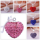 Heart Silver Plated Fashion Crystal Necklace Jewellery Pendant Chain Love Gift