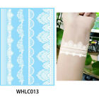 White Body Tattoo Sticker Temporary Waterproof Flower Lace Wrist Ankle Art Decal