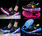 Kids Flash Skates Shoes Girls Boys Skate LED Shoes Light Up Heelys Shoes UK Size