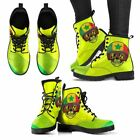 Men Skull Boots Women Hand Printed Jamaica Skull Leather Boots