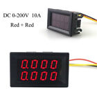 Hot DC 0-200V/100V 10A 3/4 Bit Voltmeter Ammeter Red+Red Red+Blue LED Amp Wires