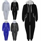 Womens Kangaroo Pocket All In One Hooded Baggy Overall Zip Up Playsuit Jumpsuit