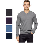 NWT MENS CALVIN KLEIN V NECK EXTRA FINE MERINO WOOL PULLOVER SWEATER