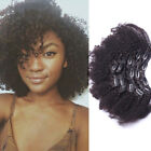 Afro Clip In Human Hair Extensions Brazilian Kinky Curly Full Head Set Extention