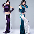 Sexy 2017 New Indian Belly Dance Costumes 3Pcs TopLace Skirt  Arm Gloves M L