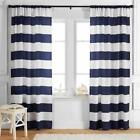navy white striped curtains - Set Navy Blue White Classic Modern Striped Stripe Curtains Drapes Panels 3 Sizes
