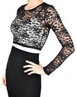 Black Stretch Lace Cropped Sweater S M L XL 2XL long sleeve crop top gothic goth