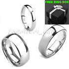 Tungsten Carbide Classic Silver Wedding Band Mens Womens Engagement Bridal Ring