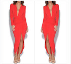 Plunge Neck Structured Dress Red John Zack Size 8-18