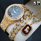HIP HOP FULL ICED OUT LAB DIAMOND WATCH & BRACELET & PRAYING HANDS NECKLACE SET