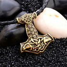 Mens Nordic Viking Mjolnir Pendant Leather Cord Myth Thor's Hammer Necklace photo