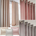 Memphis Faux Velvet Lined Eyelet Ring Top Curtains (pair Of) Ready Made