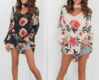 Fashion Casual Long Sleeve Asymmetrical Loose T-Shirt Ladies Floral Blouse