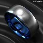 8mm Tungsten Carbide ring Silver Brushed Blue Inlay Wedding Band ATOP Men