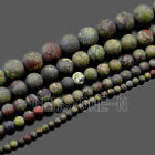 4mm 6mm 8mm 10mm 12mm Matte Natural Dragon Bloodstone Gemstone Round Beads 15.5""