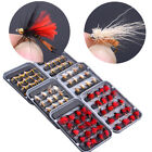Fly Fishing Lure Flies Kit Assorted Dry Flies Trout Salmon Bass 40pcs + Fly Box