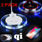 1 or 2Pack Qi Wireless Brief Charger Pad F Samsung Galaxy Note 8 S8 S9 iPhone X 8