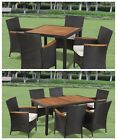 Outdoor Patio Garden Poly Rattan Wicker Furniture Dining Chair Seats Table Set