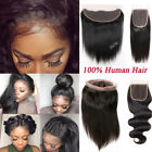 Brazilian Virgin Human Hair Body Deep Wave Straight Lace Frontal 360 Closure US