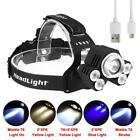 Zoomable 90000 LM CREE 5 LED USB Headlight Super Bright 2X18650 5 Modes Light BE