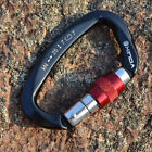 Внешний вид - 25KN Aluminum D-Shape Carabiner Screw Locking Hook Rock Climbing Caving Rescue
