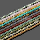 4x6mm & 5x8mm Matte Natural GemStone Rondelle Spacer Loose Beads Strand 15.5""
