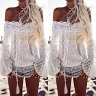 Womens Off The Shoulder Lace Blouse Shirt Strapless T-Shirt Casual Tee Top USA