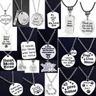 Family Silver Chain Necklace Engraved Pendant Love Heart Gifts Jewelry Presents