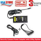 12V DC 5A Power Supply Switch Adapter Security System Camera CCTV W/ 8 splitter