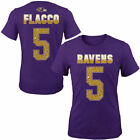 Baltimore Ravens Girls Youth Purple Joe Flacco Fade Route Name & Number T-Shirt