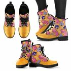 Yellow Pink Orange Ethnic Leather Women Comfort Boots Hand Printed Free Shipping