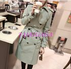 Chic Double Breasted Womens Windbreaker Korea Style Slim Fit Lapel Trench Coat