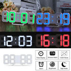 LED Digit Large 3D Display Alarm Clock Dimmer 24/12 Skeleton Table Wall Clock