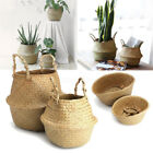 Foldable Nursery Laundry Bag Seagrass Belly Basket Storage Plant Pot Room Gift