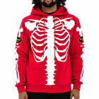 Hudson Skeleton Men's Winter Casual Pullover Hoodie Red/White h5051857-rd