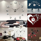 ES_ 3D DIY Wall Clock Fashion Mirror Sticker Living Room Home Modern Decor Utili