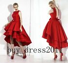Red High Lo Tea Length Prom Cocktail Dresses Backless Evening Party Bridal Gowns