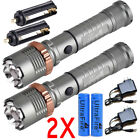 Police Tactical 20000LM T6 LED 5Modes Rechargeable Flashlight Torch Zoomable USA