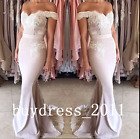 Mermaid Long Bridesmaid Dress Lace Wedding Formal Party Prom Dress Evening Gowns