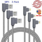 3 Pack 10ft 90 Degree iPhone Cable Right Angle lightning Cable USB Charger Cord