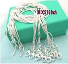 WHOLESALE PRICE 10PCS 1MM SOLID 925SILVER JEWELRY SNAKE CHAINS NECKLACE UK