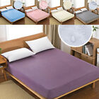 1Pcs Waterproof Fitted Sheet Mattress Protector Bedspread Cover Pure Colors FS image