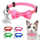 Personalized Puppy Dog Kitten Cat Collar Breakaway Bowtie  Tag Quick Release